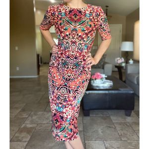 Maggy London Colorful Florals Midi Dress